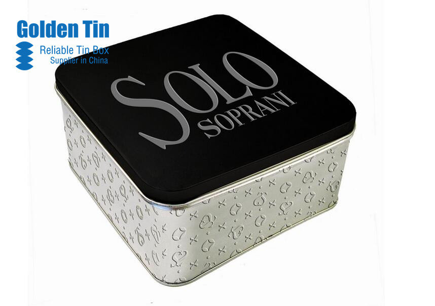 Customized Bisuict Tin Box With Hinge Lid